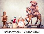 retro teddy bear toy riding...