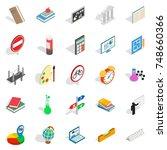 teaching icons set. isometric... | Shutterstock . vector #748660366