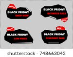 black friday price tag discount ... | Shutterstock .eps vector #748663042