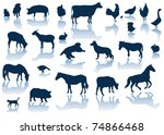 vector farm animals with... | Shutterstock .eps vector #74866468