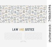 law and justice concept with... | Shutterstock .eps vector #748665496