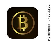 bitcoin icon button. black ... | Shutterstock .eps vector #748666582