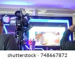 photographer video recording... | Shutterstock . vector #748667872