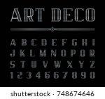 vector of art deco font and... | Shutterstock .eps vector #748674646