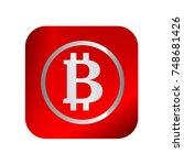 bitcoin icon button. vector.... | Shutterstock .eps vector #748681426