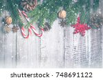christmas composition... | Shutterstock . vector #748691122