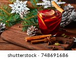 christmas mulled wine with...   Shutterstock . vector #748691686