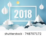 paper art of 2018 happy new... | Shutterstock .eps vector #748707172