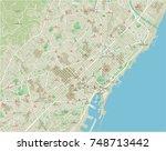 vector city map of barcelona... | Shutterstock .eps vector #748713442