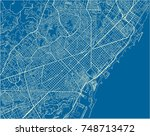 blue and white vector city map... | Shutterstock .eps vector #748713472