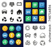 solar energy all in one icons... | Shutterstock .eps vector #748716856