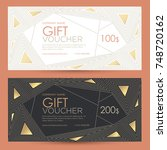 gift voucher with geometric... | Shutterstock .eps vector #748720162