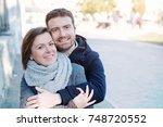 romantic lovers couple having... | Shutterstock . vector #748720552