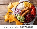 grilled chicken with rice ... | Shutterstock . vector #748724782