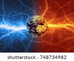 earth apocalypse in fire and... | Shutterstock . vector #748734982
