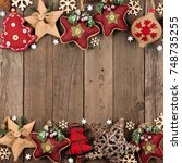 rustic christmas double border... | Shutterstock . vector #748735255