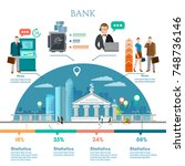 bank infographic  customers and ... | Shutterstock .eps vector #748736146