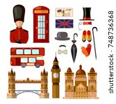 london england travel... | Shutterstock .eps vector #748736368