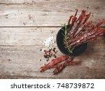 beef jerky | Shutterstock . vector #748739872