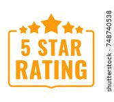 5 star rating. badge with icons.... | Shutterstock .eps vector #748740538