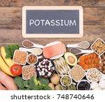 food rich in potassium  top...   Shutterstock . vector #748740646