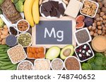 food rich in magnesium  top... | Shutterstock . vector #748740652
