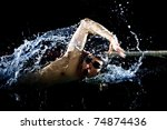 professional swimmer crawl... | Shutterstock . vector #74874436