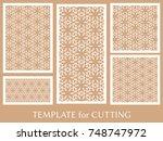 decorative panels set for laser ... | Shutterstock .eps vector #748747972