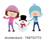 boy and girl with snowman  | Shutterstock .eps vector #748752772