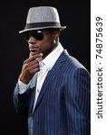 young black man wearing suit... | Shutterstock . vector #74875639