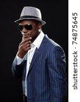 young black man wearing suit... | Shutterstock . vector #74875645