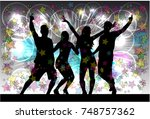dancing people silhouettes....   Shutterstock .eps vector #748757362