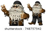 old bearded biker with a bottle ... | Shutterstock .eps vector #748757542