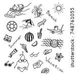 icons set of summer beach... | Shutterstock .eps vector #748761055