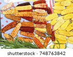 dried ears of corn and... | Shutterstock . vector #748763842