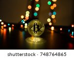bitcoin is a gold coin. the... | Shutterstock . vector #748764865