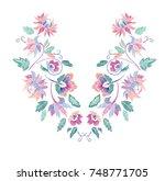 floral pattern   neck line...   Shutterstock .eps vector #748771705