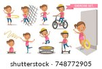 exercise little girl set. sport ... | Shutterstock .eps vector #748772905
