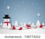 merry christmas and happy new... | Shutterstock .eps vector #748773322