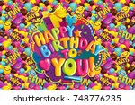 happy birthday to you card.... | Shutterstock .eps vector #748776235