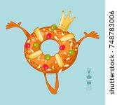 roscon de reyes  king's cake .... | Shutterstock .eps vector #748783006