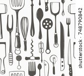 kitchen utensils seamless... | Shutterstock .eps vector #748790842
