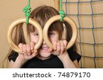6 year old girl  playing at... | Shutterstock . vector #74879170