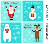 cute christmas cartoon...   Shutterstock .eps vector #748796695