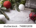 christmas decorative elements... | Shutterstock . vector #748801858