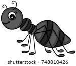 happy black ant | Shutterstock .eps vector #748810426