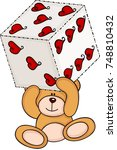 teddy bear holding dice with... | Shutterstock .eps vector #748810432