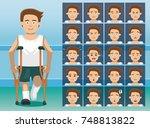 hospital leg disability cartoon ... | Shutterstock .eps vector #748813822