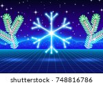 christmas card with neon... | Shutterstock . vector #748816786