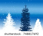 illustration with three firs... | Shutterstock .eps vector #748817692